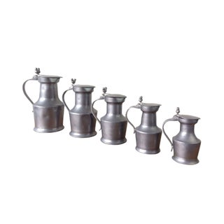 English Pewter Graduated Measures - Set of 5