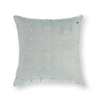 Blue Embroidered Silk Velvet Pillow