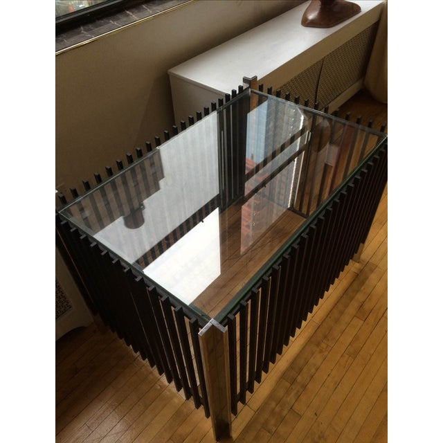 Image of Heavy Iron & Chrome With Glass Side Table