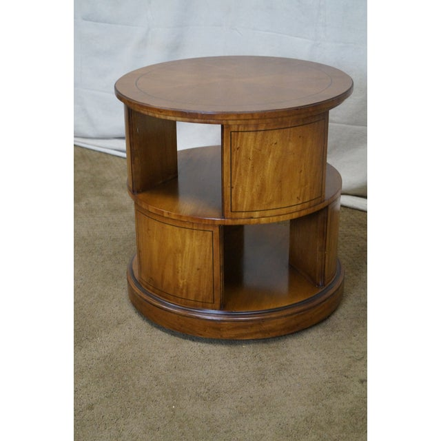 Henredon Vintage Round Revolving Bookcase Side Table - Image 9 of 9 - Henredon Vintage Round Revolving Bookcase Side Table Chairish