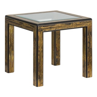 A Mastercraft Acid Etched Brass and Ebonised Side Table 1970s