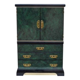 Lacquered Green Faux Malachite and Brass Armoire