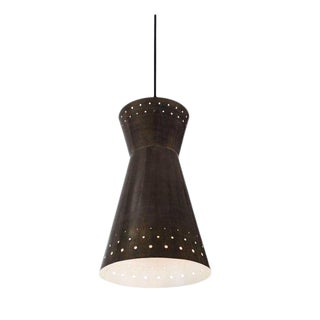 Large 1950s Italian Perforated Brass Double-Cone Pendant