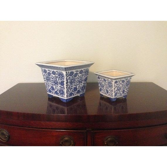 Blue & White Chinoiserie Square Planters - A Pair - Image 2 of 4