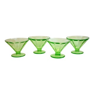 1930s Green Glass Pedestal Bowls - Set of 4