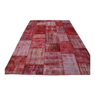 Red Overdyed Patchwork Rug - 7′ × 9′11″
