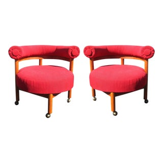Mid Century Hollywood Regency Barrel Style Chairs - A Pair