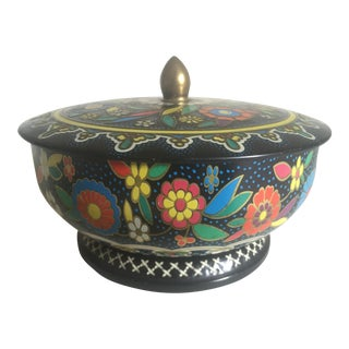 Vintage Mid-Century English Floral Lidded Candy Tin