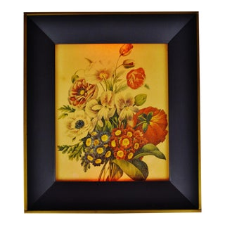Vintage 1960's Floral Reverse Painting on Glass 3 Way Illuminated Shadow Box