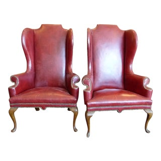 Vintage Red Leather Wingback Chairs - A Pair