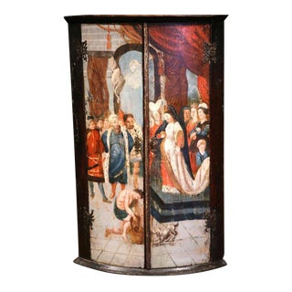 Italian Baroque Wood Bowed Hanging Corner Cabinet