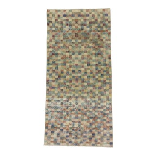 Vintage Mosaic Designed Turkish Deco Rug - 3′10″ × 8′
