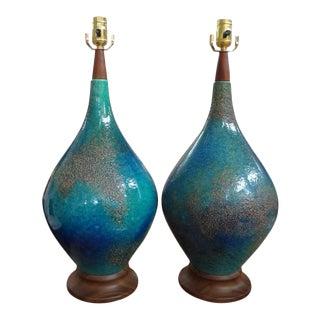 Mid-Century Italian Glazed Pottery Lamps - A Pair