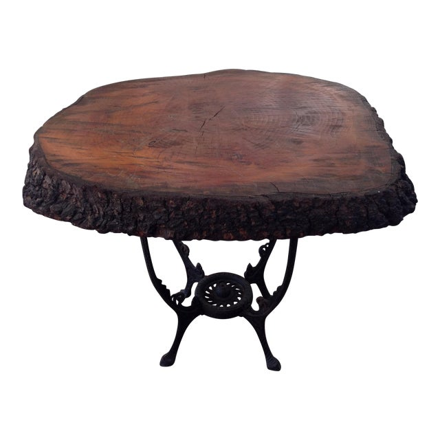 Redwood Burl Coffee Table On Cast Iron Stand Chairish