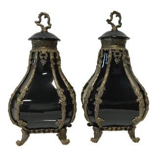 Castilian Black Ceramic & Cast Metal Urns - Pair
