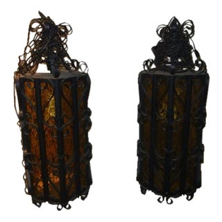 Mid-Century Gothic Hanging Lantern Lights - A Pair