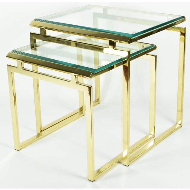 Pair of Brass & Glass Modernist Nesting Tables - Image 2 of 8