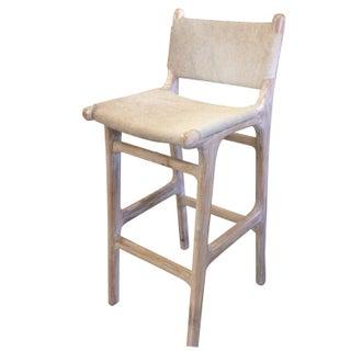 Teak Bar Stool With Hide Upholstery