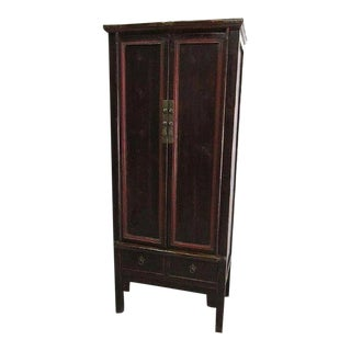 Chinese Antique Armoire With Red Trim