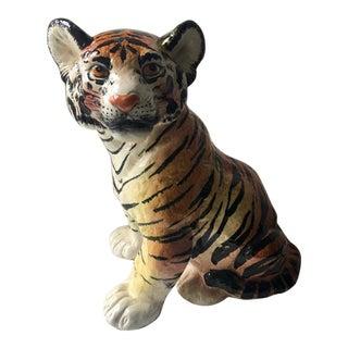 Ceramic Italian Tiger Cub Sculpture