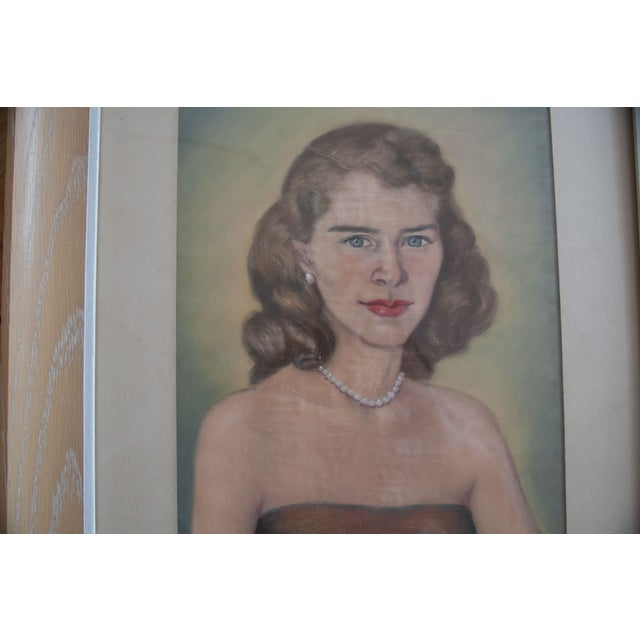 Image of Vintage Framed Pastel Lady Portraits - Pair of 2