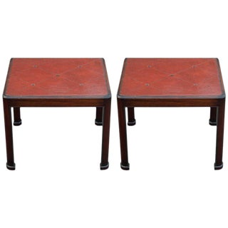 Tommi Parzinger for Charak Leather Top End Tables - A Pair