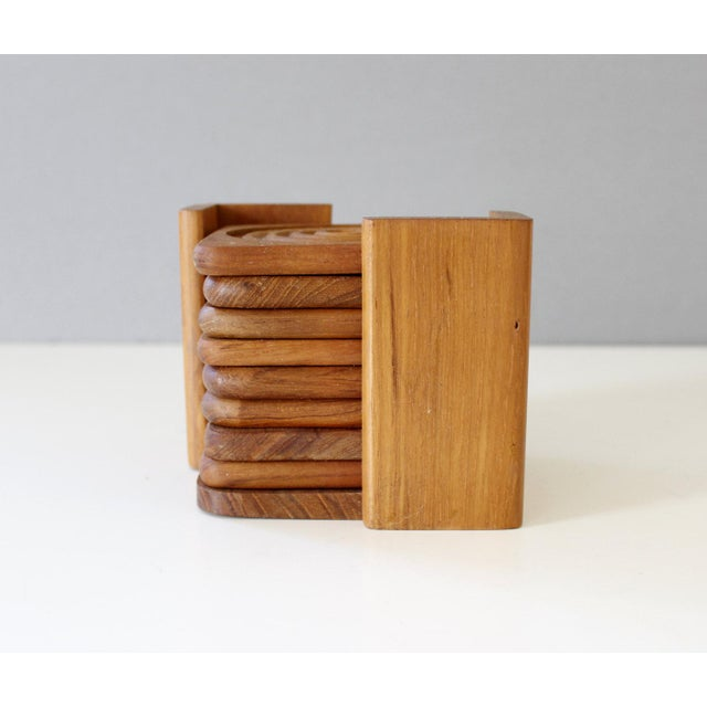 Danish Modern Dolphin Teak Coasters With Caddy- Set of 8 - Image 3 of 4