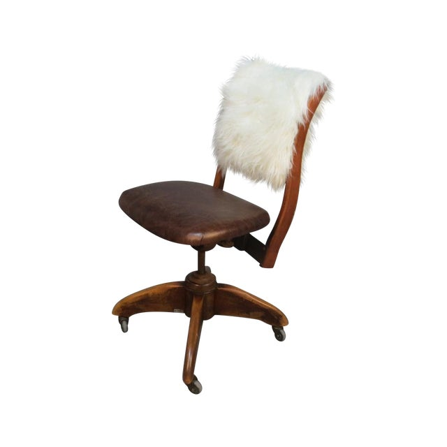 Art Deco Office Chair With Fur Back - Image 1 of 5