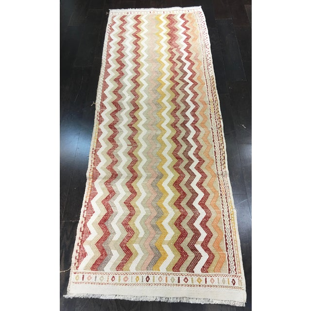 "Vintage Turkish Hemp Weave Kilim Rug- 2'5"" x 7'1"" - Image 2 of 6"