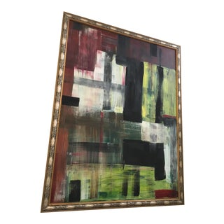 Bright Green & Red Modern Abstract Painting