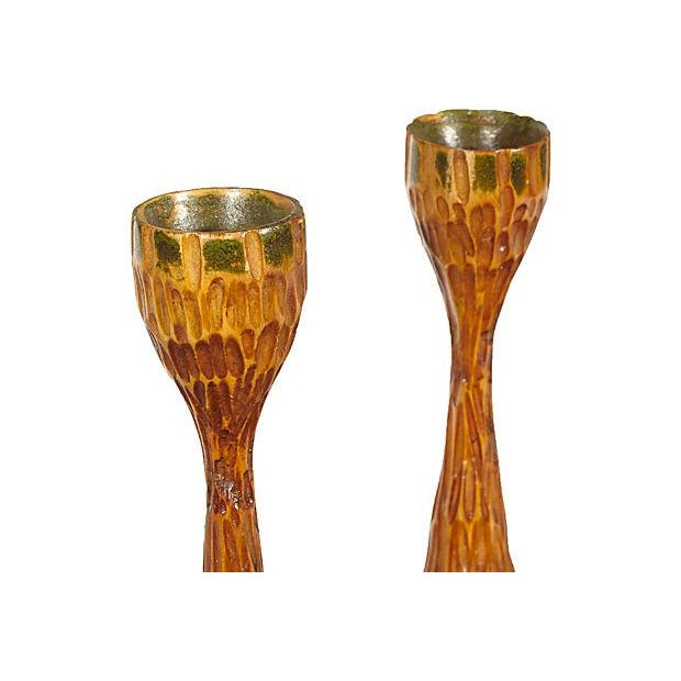Mid-century Hand-Carved Candlesticks - A Pair - Image 2 of 2