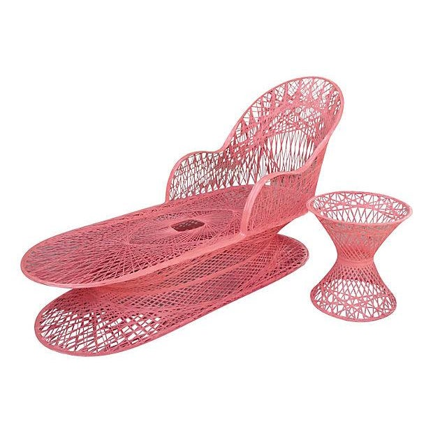 Vintage Coral Fiberglass Chaise Lounge - Image 1 of 5