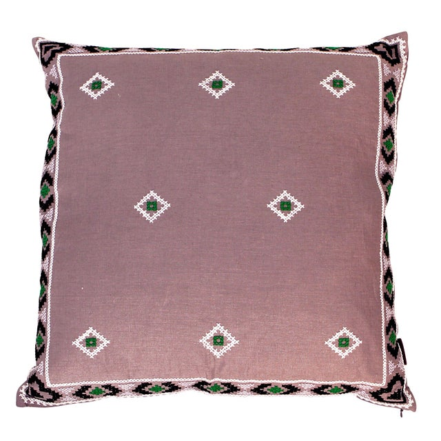 Purple & Green Mexican Embroidered Pillow - Image 1 of 3