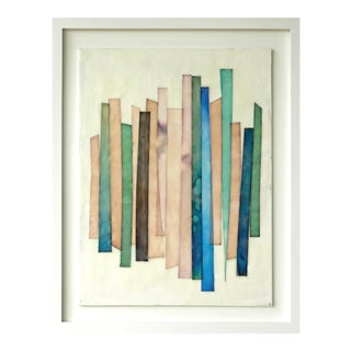 "Gina Cochran ""Stacks No. 3"" Original Framed Encaustic Art Collage"