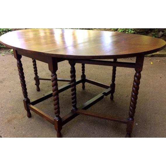 Antique Oak Drop Leaf Table - Image 2 of 6
