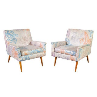 Mid-Century Armchairs in Pastel Floral Silk - Pair