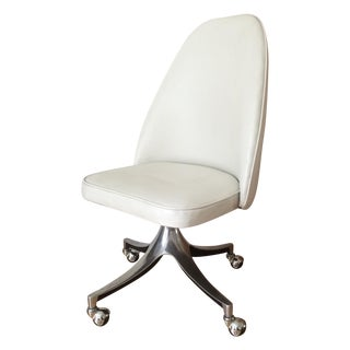Vintage Chrome & White Pleather Office Chair