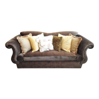 Oversized Brown Velvet Sofa