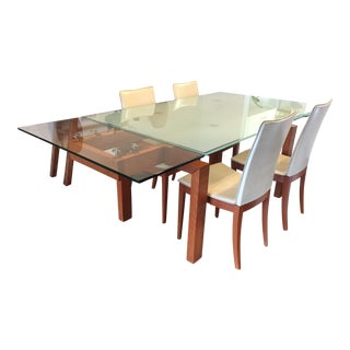 Calligaris Glass Extendable Table & Chairs - Set of 5