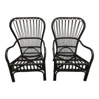 Black Rattan Chairs - A Pair