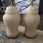 Image of White Glass Quilted Ginger Jar Lamps - A Pair