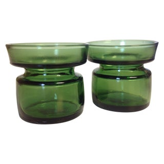 Jens Quisgaard Dansk Green Glass Votives - A Pair
