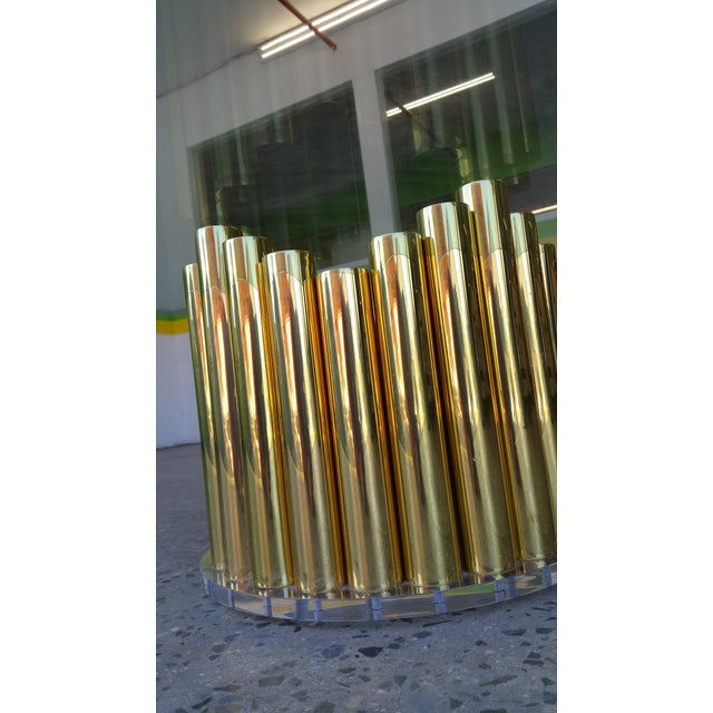 Image of 1980's Karl Springer Style Brass Lucite & Glass Cocktail Table