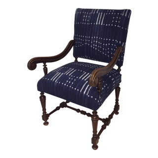 Antique Jacobean-Style Mahogany Armchair With Mali Indigo Textile
