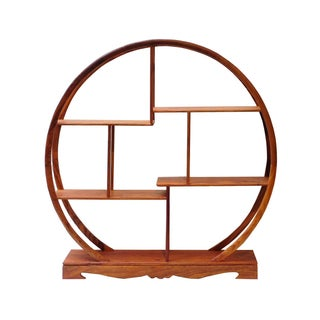 Round Rosewood Tabletop Curio Display