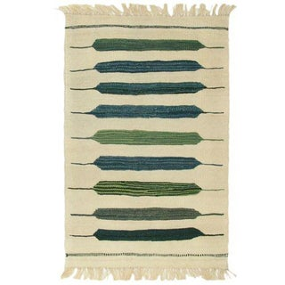 Spring Green Turkish Kilim Flatweave Rug - 1′10″ × 2′6″