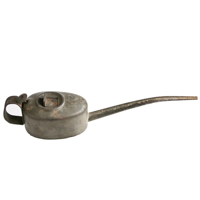 Image of Antique French Galvanized Metal Oil Can