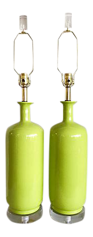 XL Lime Green Ceramic And Lucite Lamps/2