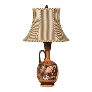 A hand-painted earthenware amphora lamp from Greece in the antique style.