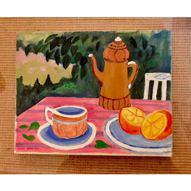 """Mid-Century Still Life """"Tea and Oranges in the Garden"""" by Joan Schreder - Image 2 of 4"""